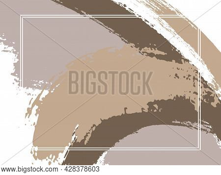 Horizontal Border With Paint Brush Strokes Background. Elegant Design Template For Card. Vector Bord