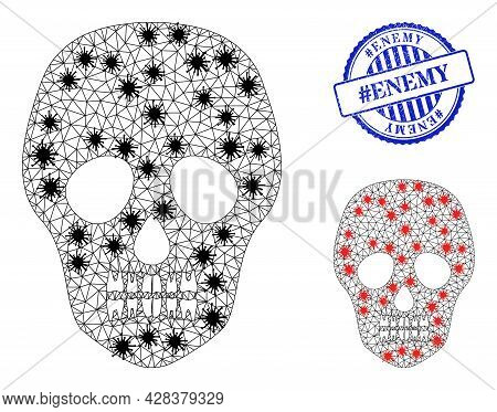 Mesh Polygonal Skull Symbols Illustration In Lockdown Style, And Distress Blue Round Hashtag Enemy S