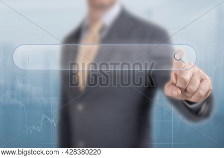 Search For Business Solutions Concept. Search And Seo. Businessman Clicks On Magnifying Glass In Sea