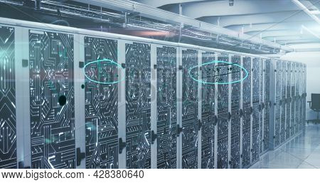 Image of mathematical equations and digital interface over network of computer servers in tech room. Global digital computer network concept digitally generated image.
