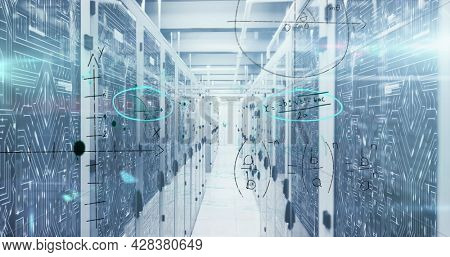 Image of handwritten mathematical equations and digital interface over network of computer servers in tech room. Global digital computer network concept digitally generated image.