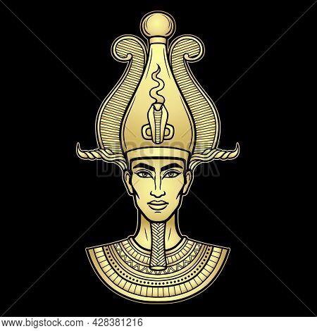 Animation Portrait Egyptian Man N The Crown. God Osiris. Gold Imitation. Vector Illustration Isolate