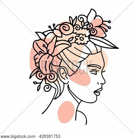 Beautiful Woman Face With Flowers Wreath One Line Drawing. Continuous Line Drawing Art. Flower Bouqu