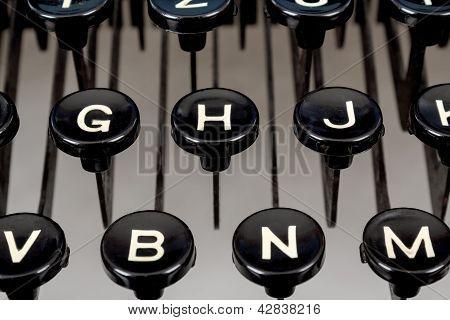Detail Of Keys On Retro Typewriter