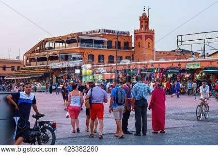 Marrakesh, Morocco - June 03, 2017: Evening In The Famous Jemaa El-fnaa Square (also Jemaa El-fna, D