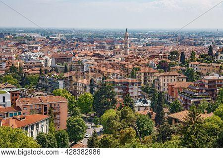 Bergamo, Italy - May 22, 2019: Aerial View Of The Old Town Bergamo In Sunny Day. Bergamo Is A City I