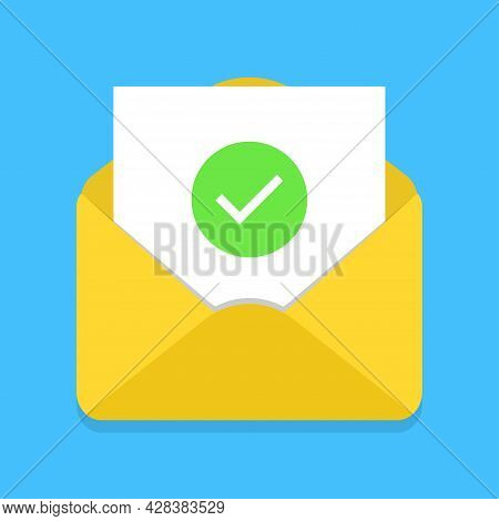 Envelope With Document And Green Check Mark On Blue Background. Confirmation Email Message. Successf