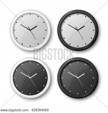 Vector 3d Realistic White And Black Wall Office Clock Icon Set Isolated On White. White Dial, Black