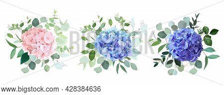 Blue, Purple, Blush Pink Hydrangea Flowers, Emerald Greenery And Eucalyptus Wedding Vector Bouquets
