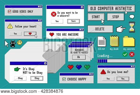 Old Computer Aestethic 1980s -1990s. Set With Retro Pc Elements, User Interface, Icons And Technolog