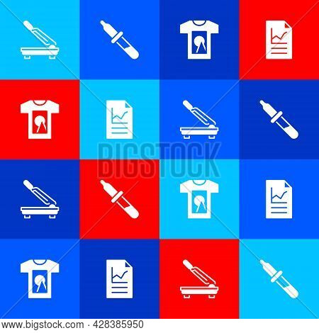 Set Paper Cutter, Pipette, T-shirt And Document With Graph Chart Icon. Vector