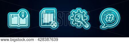 Set Line Interesting Facts, File Document Service, Wrench And Gear And Hashtag Speech Bubble. Glowin