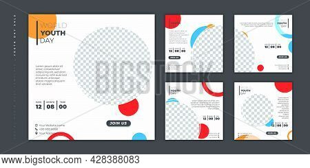 Set Of Social Media Post Template. Social Media Template With Circle Mockup And White Background For