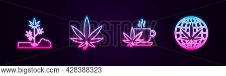 Set Line Planting Marijuana, Marijuana Or Cannabis Leaf, Cup Tea With And Legalize. Glowing Neon Ico