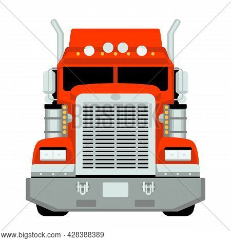 Red Semi Truck, Front View, Vector Illustration, Flat Style