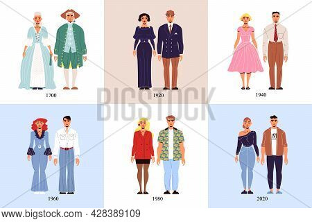 History Of Fashion Costume Design Concept Set Of Six Square Icons Demonstrated Male And Female Suits