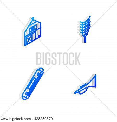 Set Isometric Line Wheat, Farm House, Harmonica And Musical Instrument Trumpet Icon. Vector