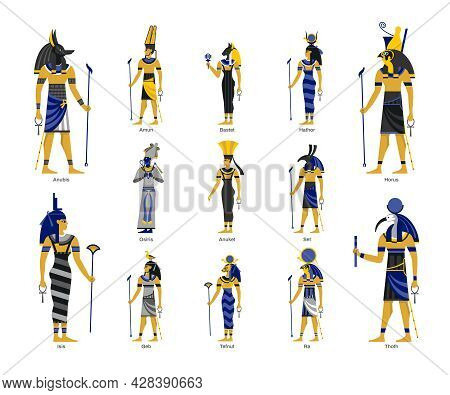 Egyptian Ancient Gods Deities Anubis Horus Thoth Isis Amun Black Blue Yellow Figures Set Isolated Ve