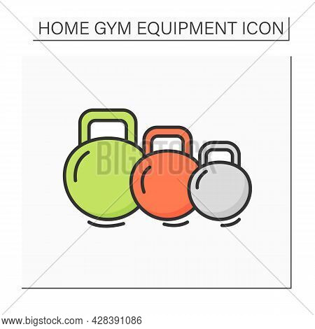 Kettlebells Color Icon. Heavy Weight Dumbbells For Power Lifting. Concept Of Power Raining, Body Bui