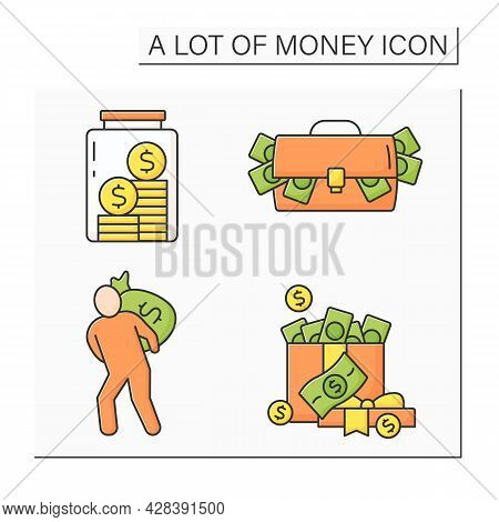 Money Color Icons Set. Bank Robbery, Cash In Present Box, Bag And Glasses Jar. Global Economy. Inves