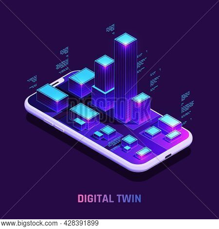Digital Twins Technology In Real Estate Smart Building Sensors Data Isometric Composition On Smartph