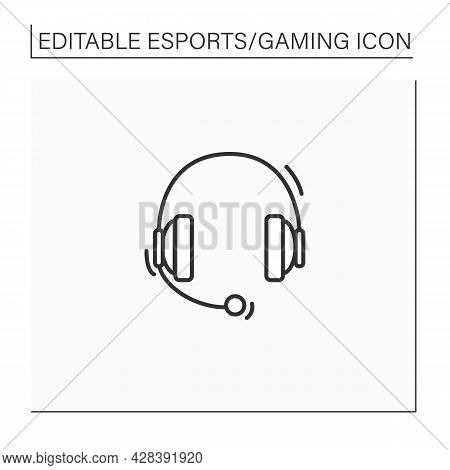 Headset Line Icon. Headphones With Microphone. Technical Equipment For Playing Games. Cybersport Con