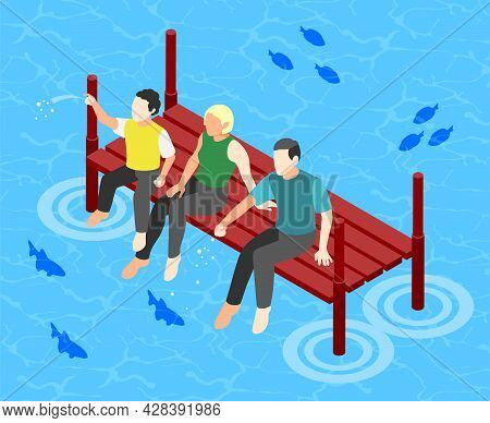 International Day Of Families Color Background With Relatives Spend Time In Aqua Park Isometric Vect