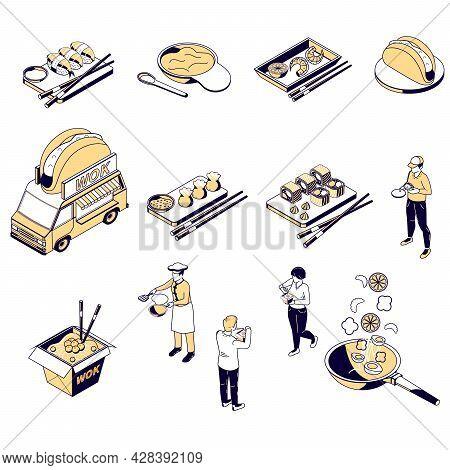 Asian Food Menu Isometric Icons Set Of Sushi Noodles Shrimp Gedza Bao Sashimi Rolls Wok Isolated Vec