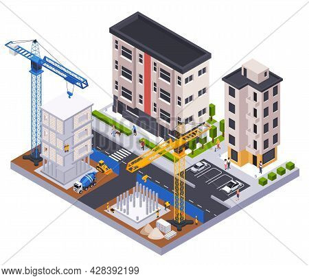 Construction Isometric Concept With Building Industry Symbols Vector Illustration