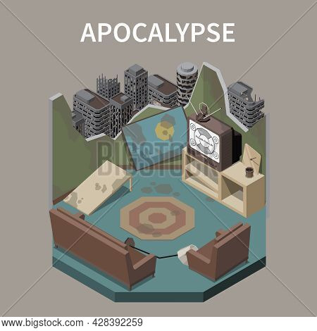 Apocalypse Abstract Design Concept Illustrated Derelict Room In Destroyed Building At City Ruins Bac