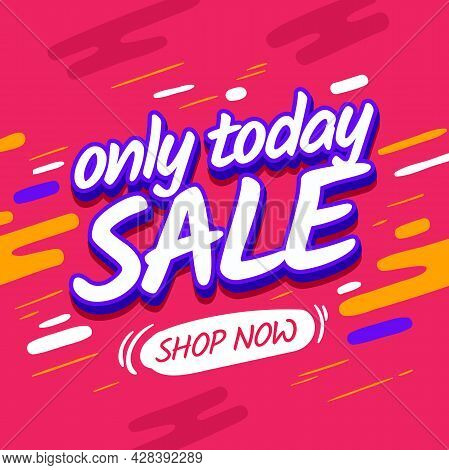 Square Banner Sale Design. Pink Vector Discount Poster. Poster Shopping Promotional Vector Web Banne