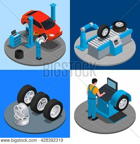 Four Tire Production Service Isometric Icon Set Installation Of Tires In Repair Shop Production At F