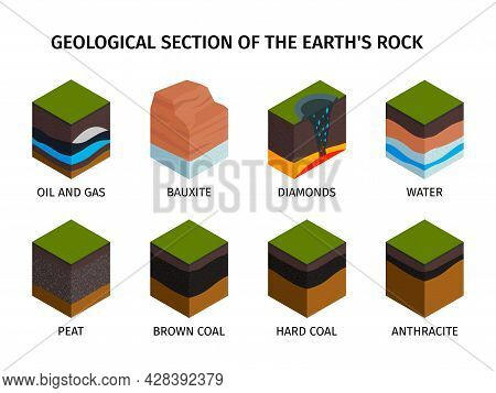 Isometric Geological Composition Set Geological Section Of The Earths Rock Oil And Gas Bauxite Diamo