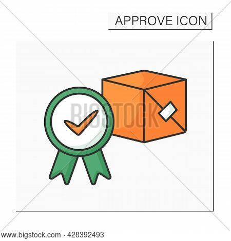 Approved Product Color Icon. Governmental Authority Approving Necessary For Marketing And Product Sa