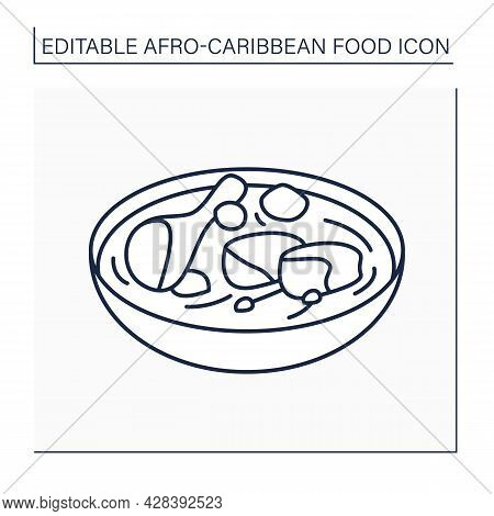 Afro-caribbean Food Line Icon. Fish Pepper Soup. Catfish Dish. Nigerian Traditional Soup. Local Food
