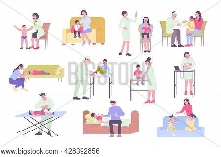 Pediatrics Flat Set With Doctors Examining Ill Kids And Parents Treating Them Isolated Vector Illust