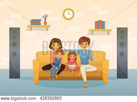 Family Holidays Flat Cartoon Composition Mom Dad And Two Kids Sitting On The Couch Watching Tv With