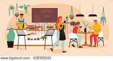 Confectionery Coffee Shop Interior With Desserts Showcase Visitors Eating Cakes Waiter Carrying Tray