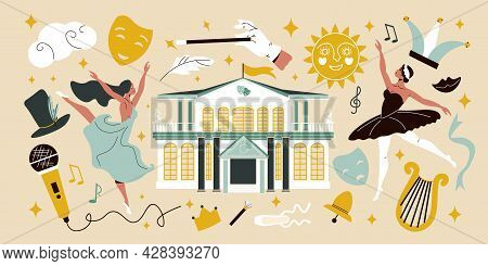 Flat Big Set With Two Female Ballet Dancers Theatre Building And Various Theatrical Props And Equipm