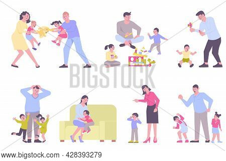 Parenting Types Flat Set With Emotional Children Angry And Kind Parents Isolated Vector Illustration