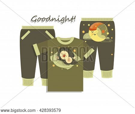 Goodnight. Set. Childrens Clothing, Pajamas. Emblems With A Sleeping Hedgehog And A Month