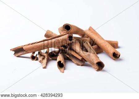 Cinnamon, Cinnamomum Verum, 30 Degree Shot Against White Background