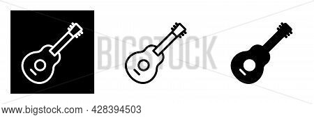 Guitar, Music And Song Icon, Acoustic Musical Instrument Sign Isolated. Editable Color. Vector Illus