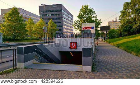 Prague, Czech Republic - June 20, 2021: Entrance Into The Metro Station Prosek On Red Line Of Prague
