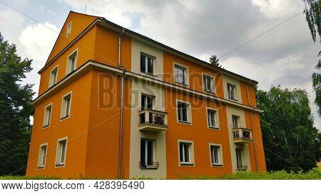 Ceske Budejovice, Czech Republic - July 13, 2021: A Typical Communist Style Municipal Condo Building