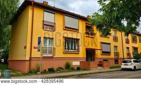 Ceske Budejovice, Czech Republic - July 13, 2021: A Typical Residential Condo Building In Prague's D