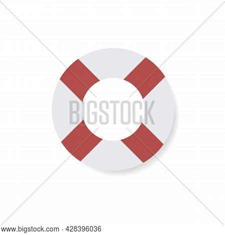 Lifebuoy Sign Color Icon. Support Service Concept Button. Trendy Flat Isolated Symbol On White Sign