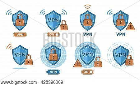 Vpn Virtual Private Network Security Service. Secure Encrypted Connection. Shield With Lock Icon Set