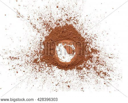 Cocoa powder on white background