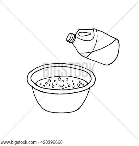 A Hand-drawn Sketch Depicting The Addition Of Detergent To The Basin. Hand Washing Of Clothes.  The